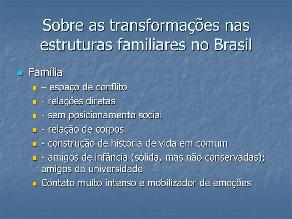 Sobre as transformações nas estruturas familiares no Brasil Família Família – espaço de conflito – espaço de conflito - relações diretas - relações di