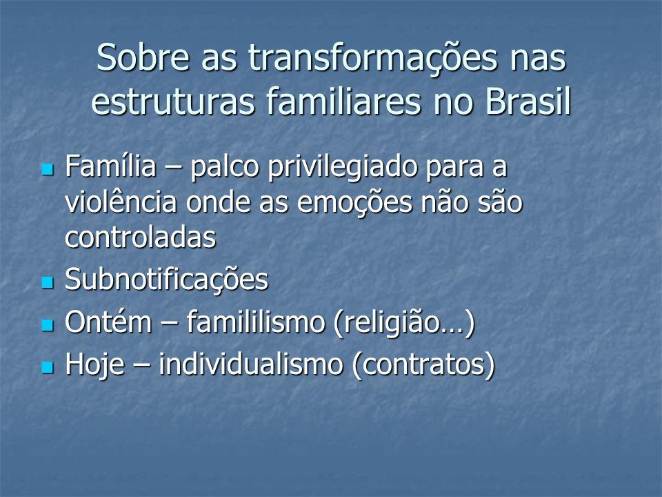 Sobre as transformações nas estruturas familiares no Brasil Família – palco privilegiado para a violência onde as emoções não são controladas Família
