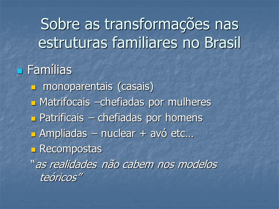 Sobre as transformações nas estruturas familiares no Brasil Famílias Famílias monoparentais (casais) monoparentais (casais) Matrifocais –chefiadas por