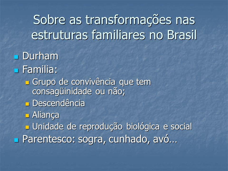 Sobre as transformações nas estruturas familiares no Brasil Durham Durham Familia: Familia: Grupo de convivência que tem consagüinidade ou não; Grupo