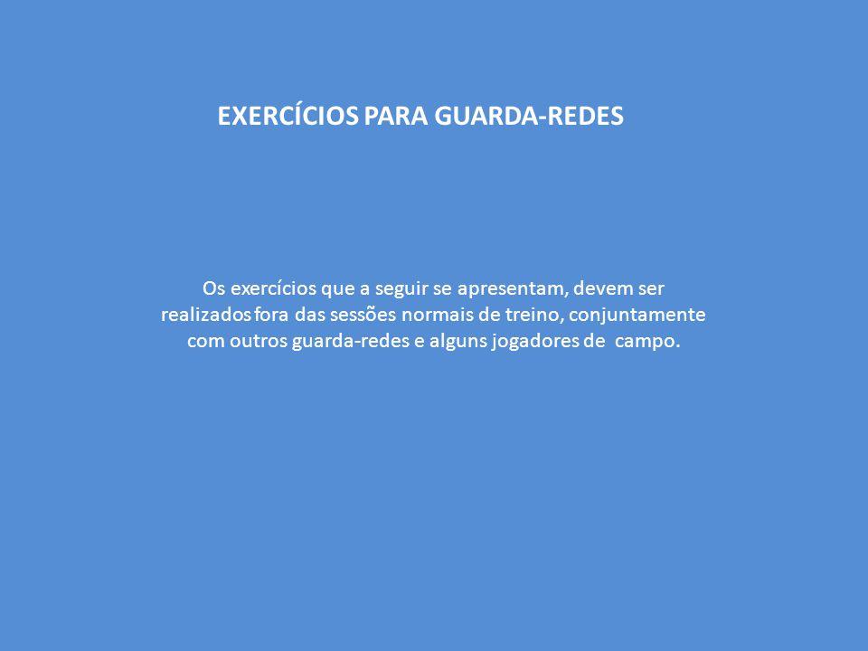EXERCÍCIOS PARA GUARDA-REDES Os exercícios que a seguir se apresentam, devem ser realizados fora das sessões normais de treino, conjuntamente com outros guarda-redes e alguns jogadores de campo.