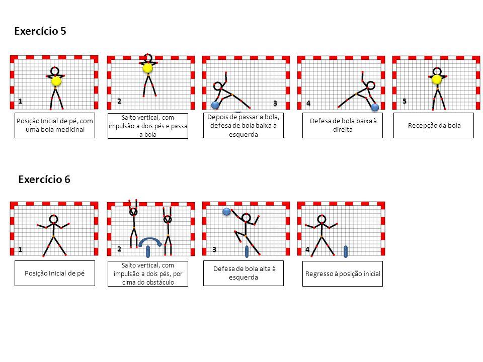 3 1 Posição Inicial de pé, com uma bola medicinal Salto vertical, com impulsão a dois pés e passa a bola Recepção da bola Depois de passar a bola, defesa de bola baixa à esquerda Exercício 5 Exercício 6 34 1 Defesa de bola baixa à direita 25 Posição Inicial de pé Salto vertical, com impulsão a dois pés, por cima do obstáculo Defesa de bola alta à esquerda 2 4 Regresso à posição inicial