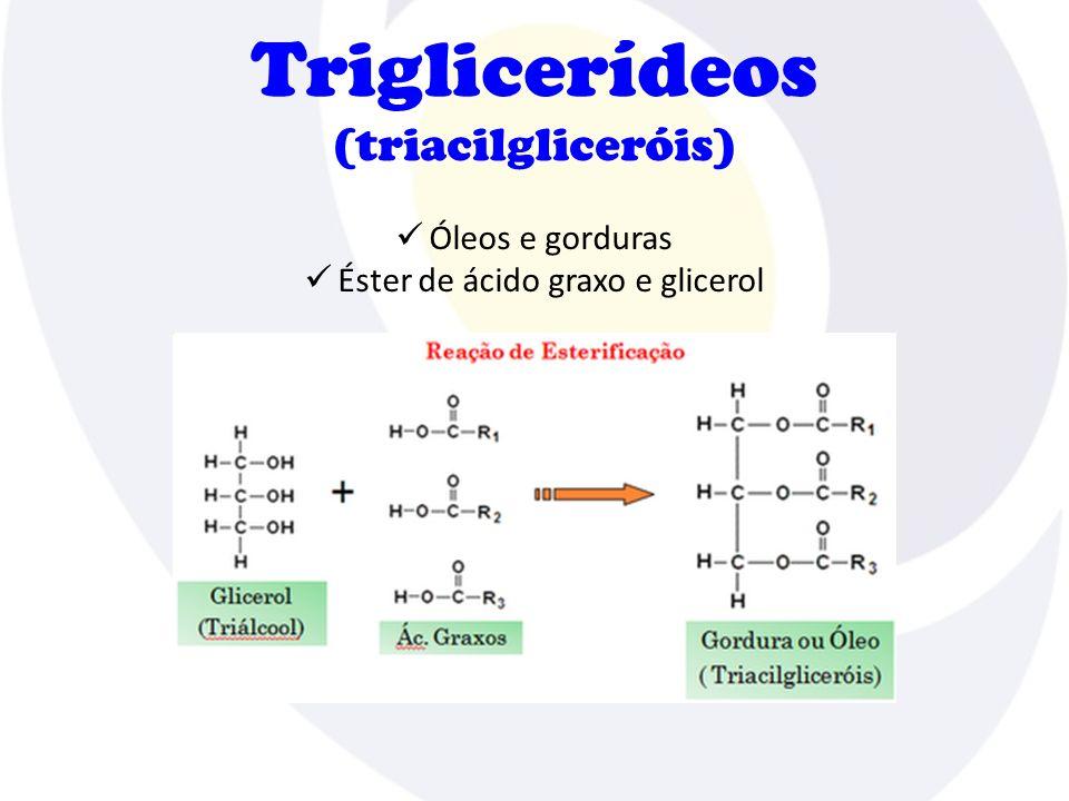 Triglicerídeos (triacilgliceróis) Ácido graxo Saturado Maior ponto de fusão Sólidos Origem animal Insaturado Menor ponto de fusão Líquidos Origem vegetal Hidrogenação  Gordura trans