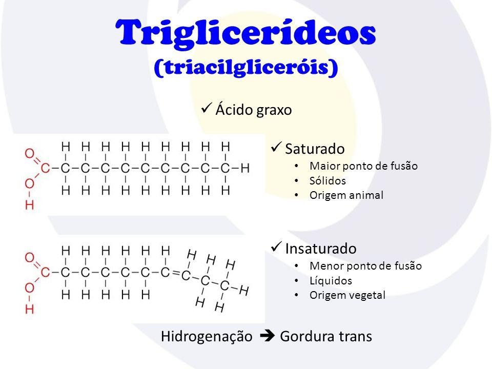 Triglicerídeos (triacilgliceróis) Lipídios: 9 kcal/g Carboidratos e proteínas: 4 kcal/g