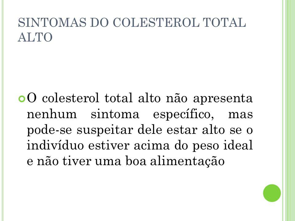 SINTOMAS DO COLESTEROL TOTAL ALTO O colesterol total alto não apresenta nenhum sintoma específico, mas pode-se suspeitar dele estar alto se o indivídu