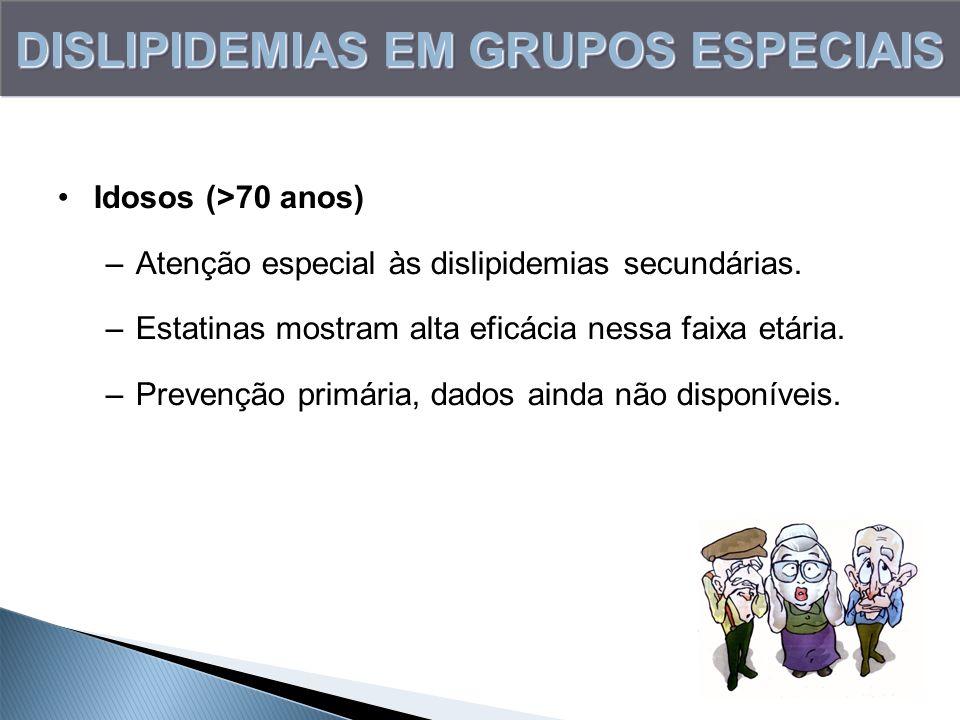 DISLIPIDEMIAS EM GRUPOS ESPECIAIS Idosos (>70 anos) –Atenção especial às dislipidemias secundárias. –Estatinas mostram alta eficácia nessa faixa etári