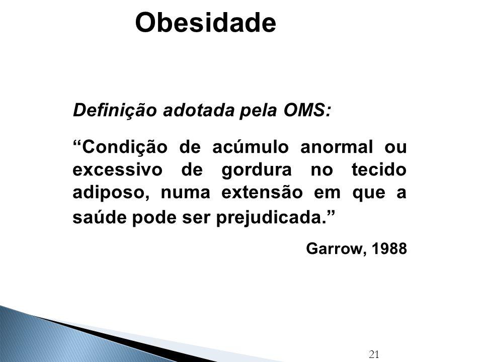 """21 Obesidade Definição adotada pela OMS: """"Condição de acúmulo anormal ou excessivo de gordura no tecido adiposo, numa extensão em que a saúde pode ser"""