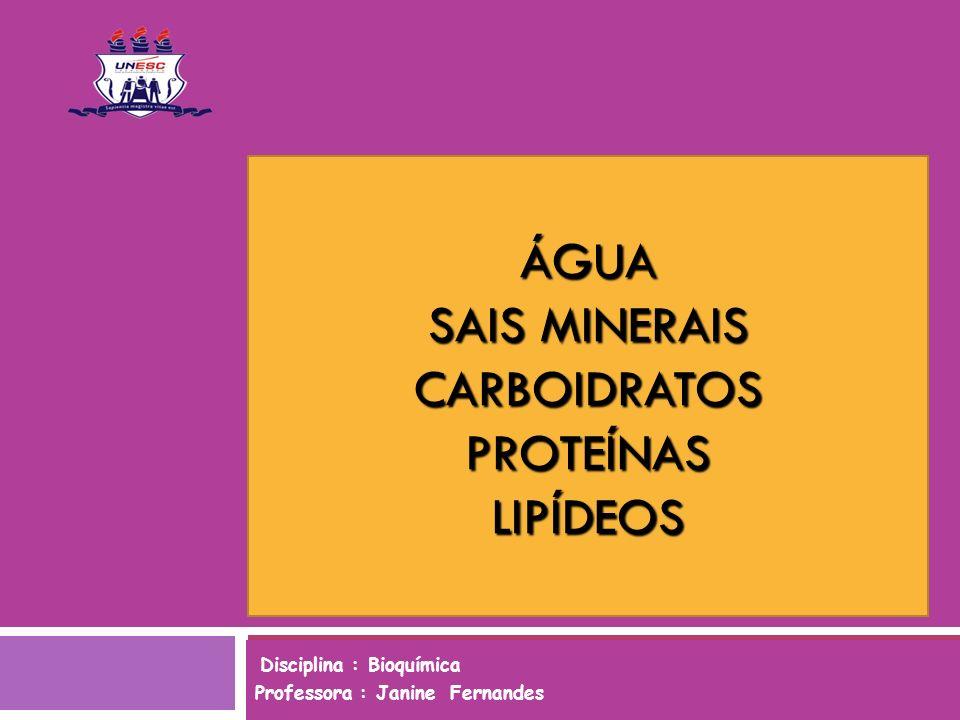 ÁGUA SAIS MINERAIS CARBOIDRATOS PROTEÍNAS LIPÍDEOS Disciplina : Bioquímica Professora : Janine Fernandes