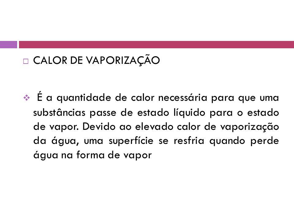  CALOR DE VAPORIZAÇÃO  É a quantidade de calor necessária para que uma substâncias passe de estado líquido para o estado de vapor.