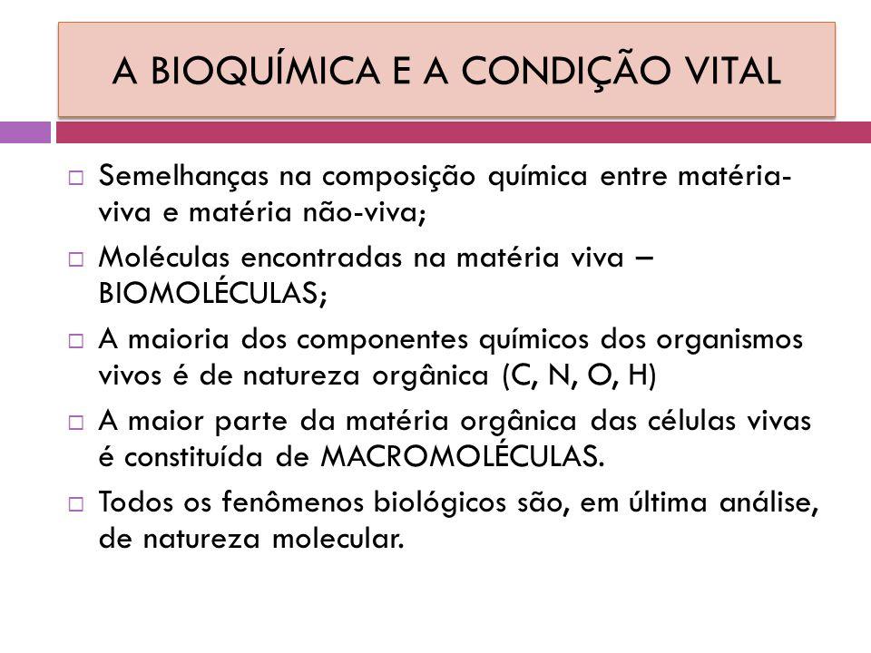 A BIOQUÍMICA E A CONDIÇÃO VITAL  Semelhanças na composição química entre matéria- viva e matéria não-viva;  Moléculas encontradas na matéria viva – BIOMOLÉCULAS;  A maioria dos componentes químicos dos organismos vivos é de natureza orgânica (C, N, O, H)  A maior parte da matéria orgânica das células vivas é constituída de MACROMOLÉCULAS.