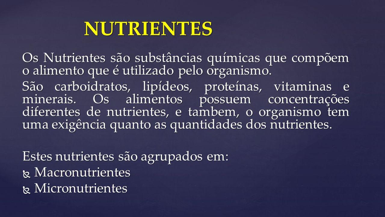 Os Nutrientes são substâncias químicas que compõem o alimento que é utilizado pelo organismo.