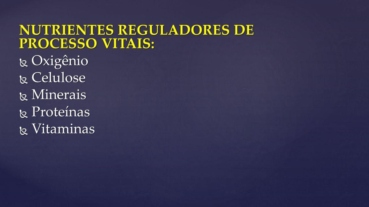 NUTRIENTES REGULADORES DE PROCESSO VITAIS:  Oxigênio  Celulose  Minerais  Proteínas  Vitaminas