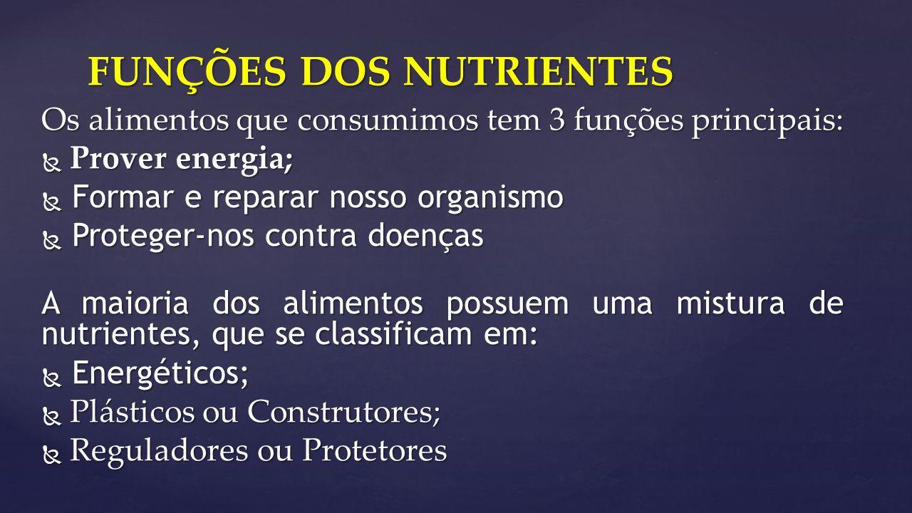 Os alimentos que consumimos tem 3 funções principais:  Prover energia;  Formar e reparar nosso organismo  Proteger-nos contra doenças A maioria dos alimentos possuem uma mistura de nutrientes, que se classificam em:  Energéticos;  Plásticos ou Construtores;  Reguladores ou Protetores FUNÇÕES DOS NUTRIENTES