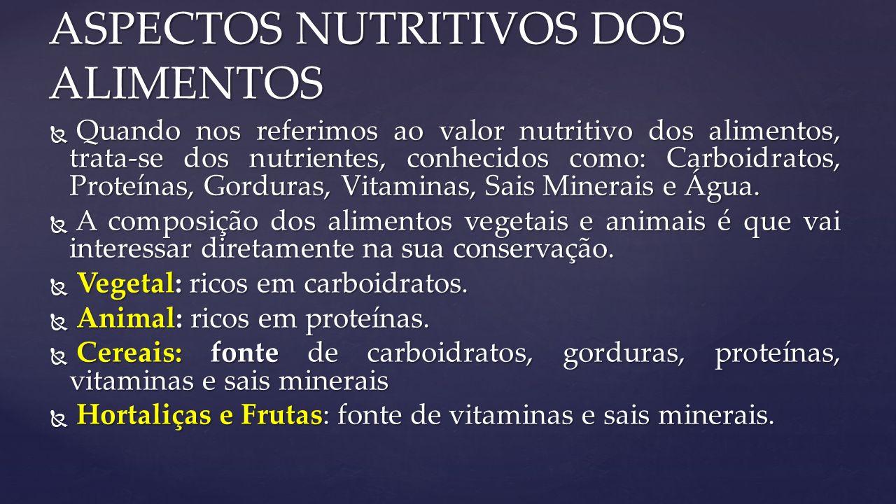  Quando nos referimos ao valor nutritivo dos alimentos, trata-se dos nutrientes, conhecidos como: Carboidratos, Proteínas, Gorduras, Vitaminas, Sais Minerais e Água.