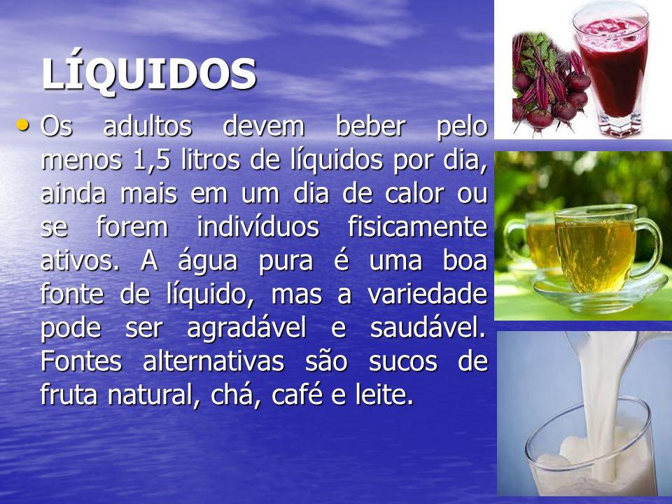 LÍQUIDOS Os adultos devem beber pelo menos 1,5 litros de líquidos por dia, ainda mais em um dia de calor ou se forem indivíduos fisicamente ativos. A
