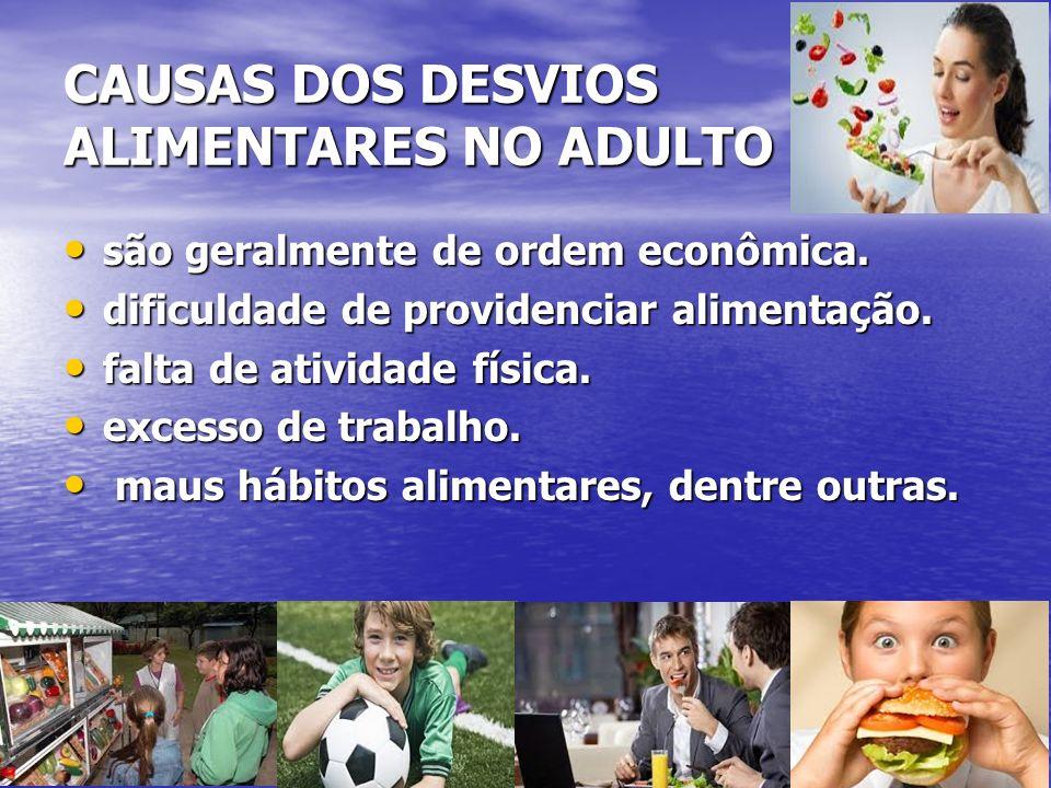 CAUSAS DOS DESVIOS ALIMENTARES NO ADULTO são geralmente de ordem econômica. são geralmente de ordem econômica. dificuldade de providenciar alimentação