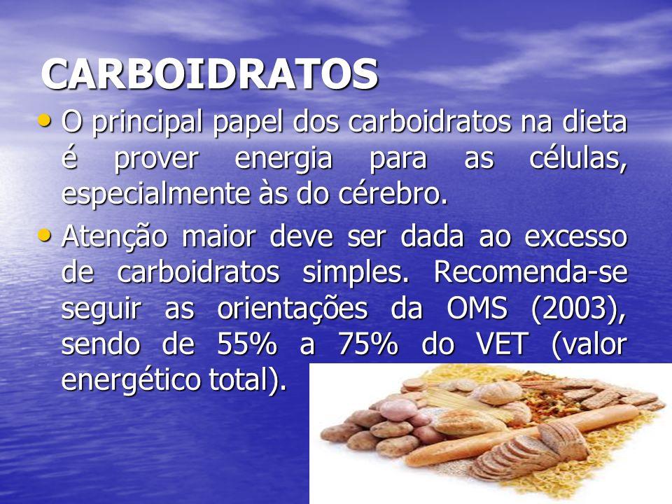 CARBOIDRATOS O principal papel dos carboidratos na dieta é prover energia para as células, especialmente às do cérebro. O principal papel dos carboidr