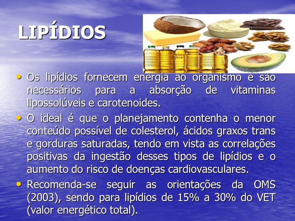 LIPÍDIOS Os lipídios fornecem energia ao organismo e são necessários para a absorção de vitaminas lipossolúveis e carotenoides. Os lipídios fornecem e