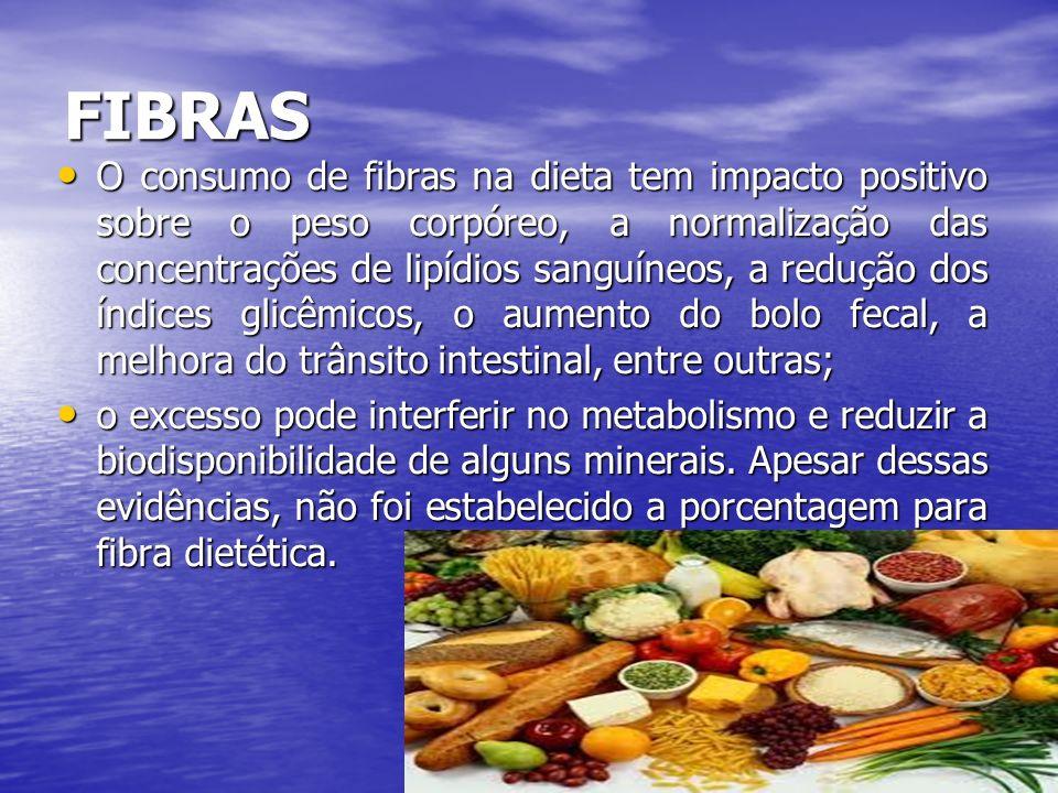 FIBRAS O consumo de fibras na dieta tem impacto positivo sobre o peso corpóreo, a normalização das concentrações de lipídios sanguíneos, a redução dos