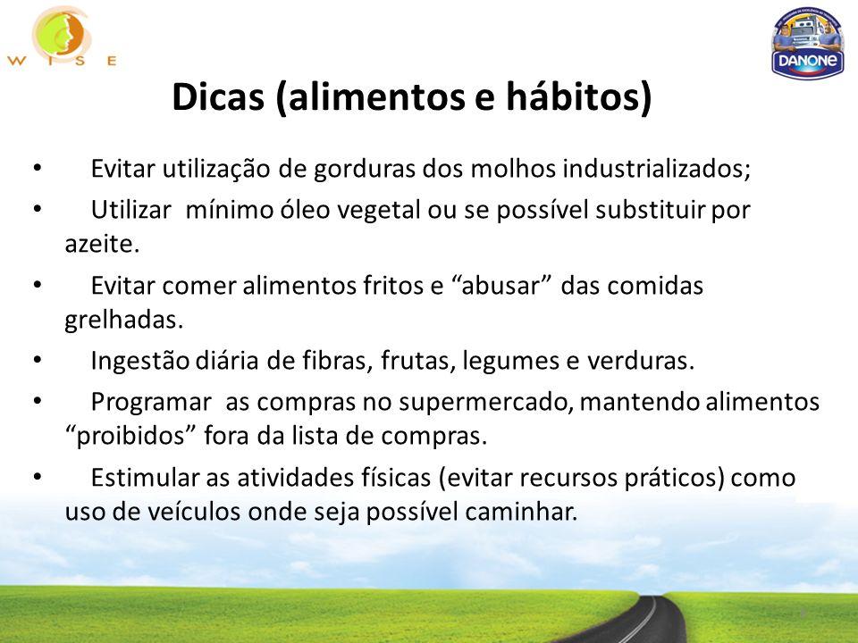 Dicas (alimentos e hábitos) Evitar utilização de gorduras dos molhos industrializados; Utilizar mínimo óleo vegetal ou se possível substituir por azeite.