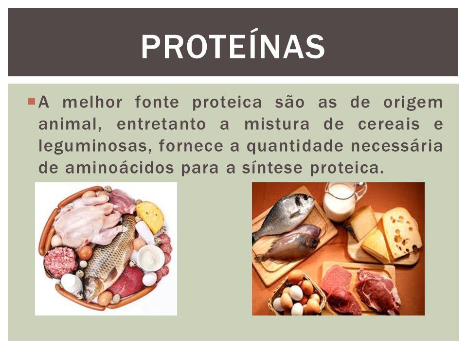  A melhor fonte proteica são as de origem animal, entretanto a mistura de cereais e leguminosas, fornece a quantidade necessária de aminoácidos para a síntese proteica.