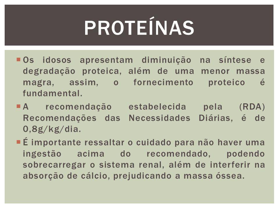  Os idosos apresentam diminuição na síntese e degradação proteica, além de uma menor massa magra, assim, o fornecimento proteico é fundamental.