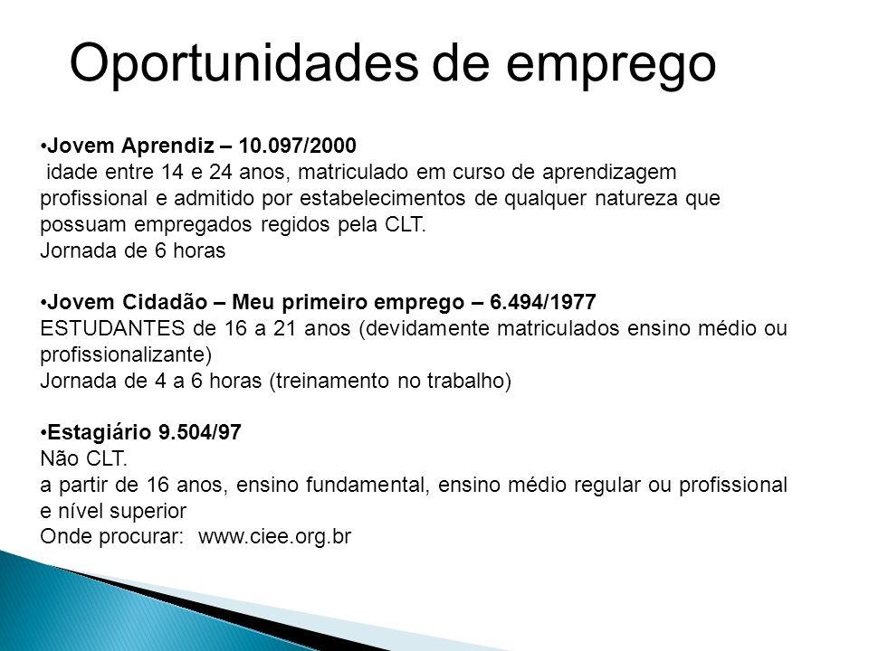 Oportunidades de emprego Jovem Aprendiz – 10.097/2000 idade entre 14 e 24 anos, matriculado em curso de aprendizagem profissional e admitido por estabelecimentos de qualquer natureza que possuam empregados regidos pela CLT.
