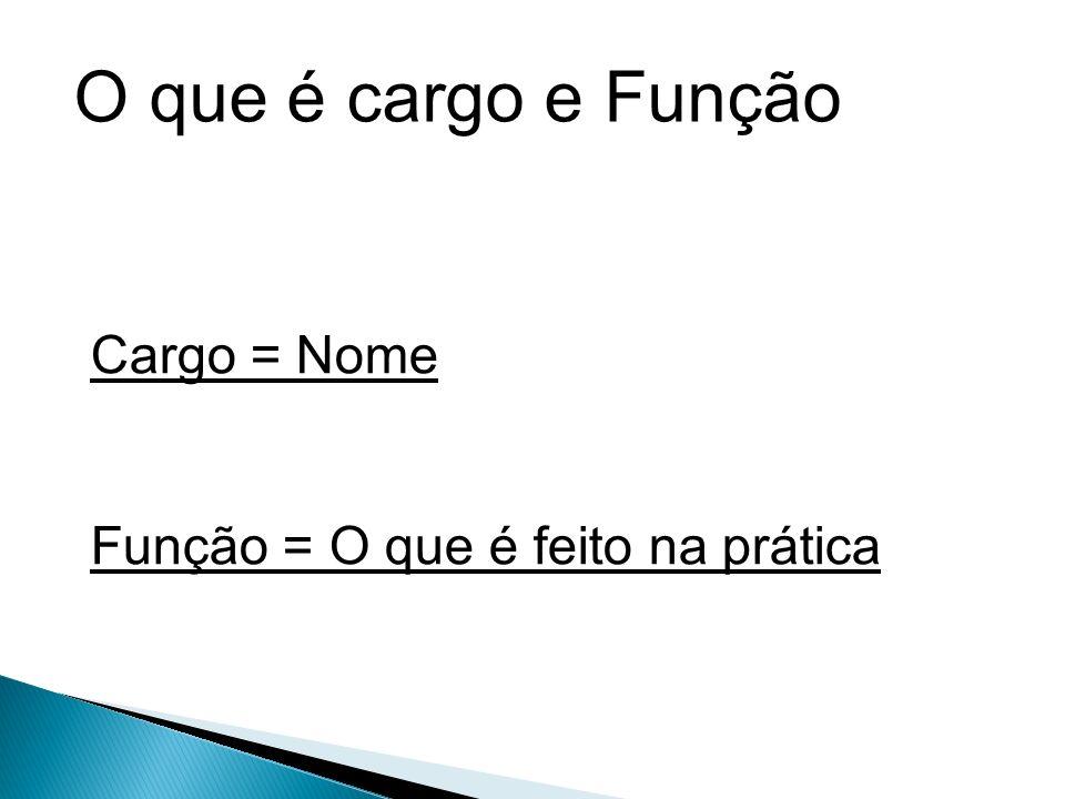 O que é cargo e Função Cargo = Nome Função = O que é feito na prática