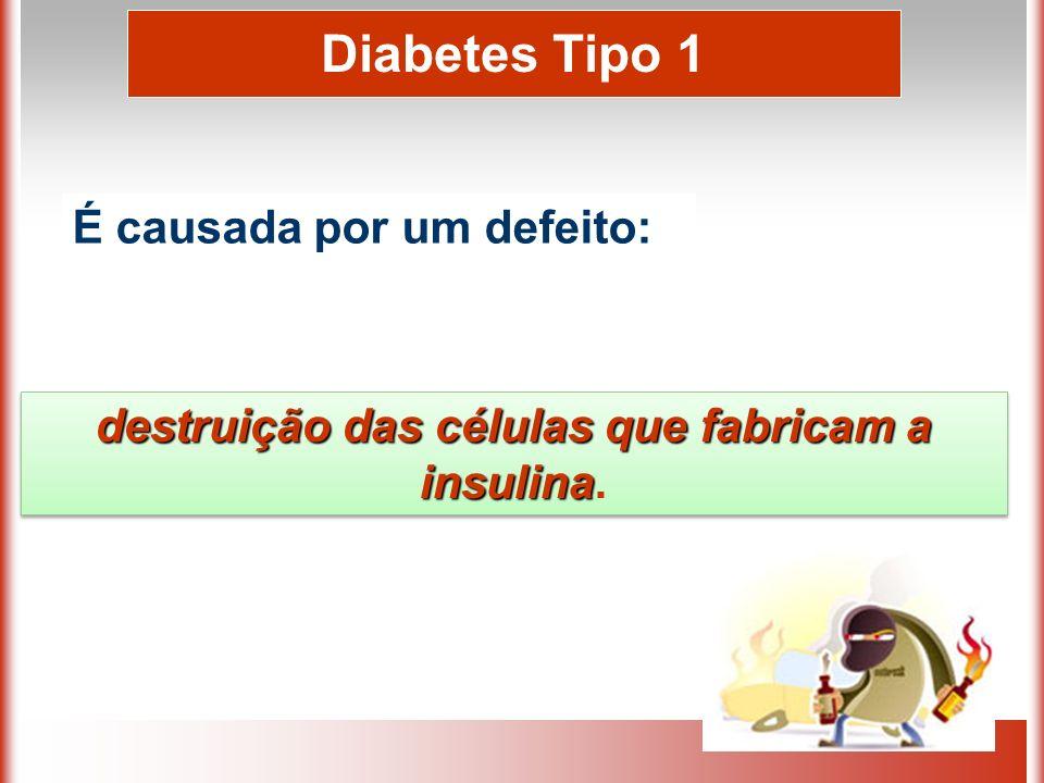 Diabetes Tipo 1 É causada por um defeito: destruição das células que fabricam a insulina destruição das células que fabricam a insulina.