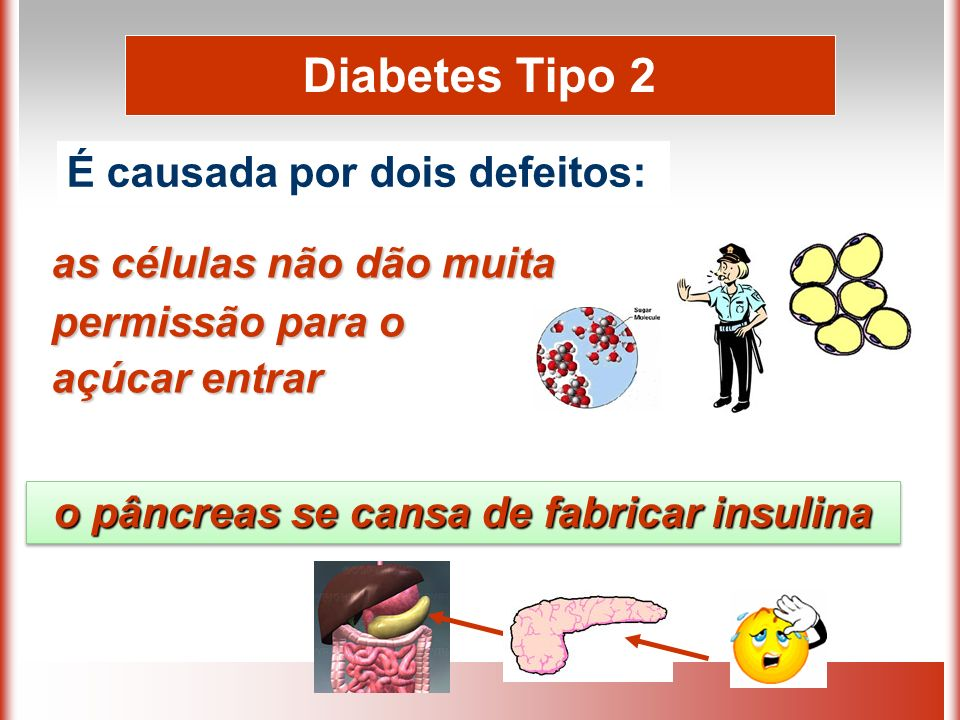 as células não dão muita permissão para o açúcar entrar Diabetes Tipo 2 É causada por dois defeitos: o pâncreas se cansa de fabricar insulina o pâncreas se cansa de fabricar insulina