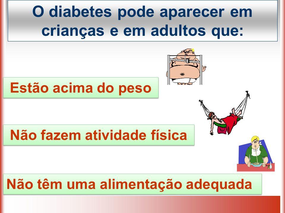 O diabetes pode aparecer em crianças e em adultos que: Estão acima do peso Não têm uma alimentação adequada Não fazem atividade física