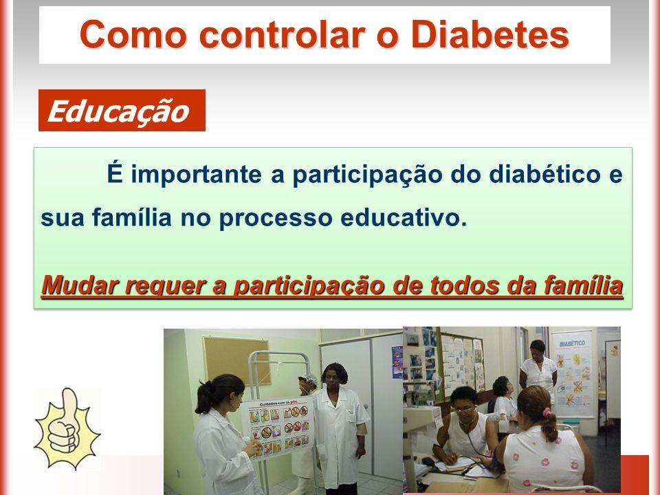 Como controlar o Diabetes Educação É importante a participação do diabético e sua família no processo educativo.