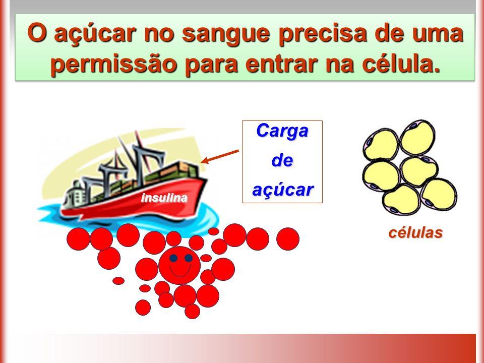 Cargadeaçúcar insulina O açúcar no sangue precisa de uma permissão para entrar na célula. células