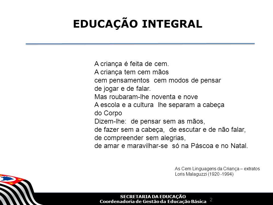 SECRETARIA DA EDUCAÇÃO Coordenadoria de Gestão da Educação Básica 3 Conceito de Educação Integral A educação integral é a educação para o pleno desenvolvimento da pessoa, a fim de possibilitar a ela responder aos desafios cotidianos.