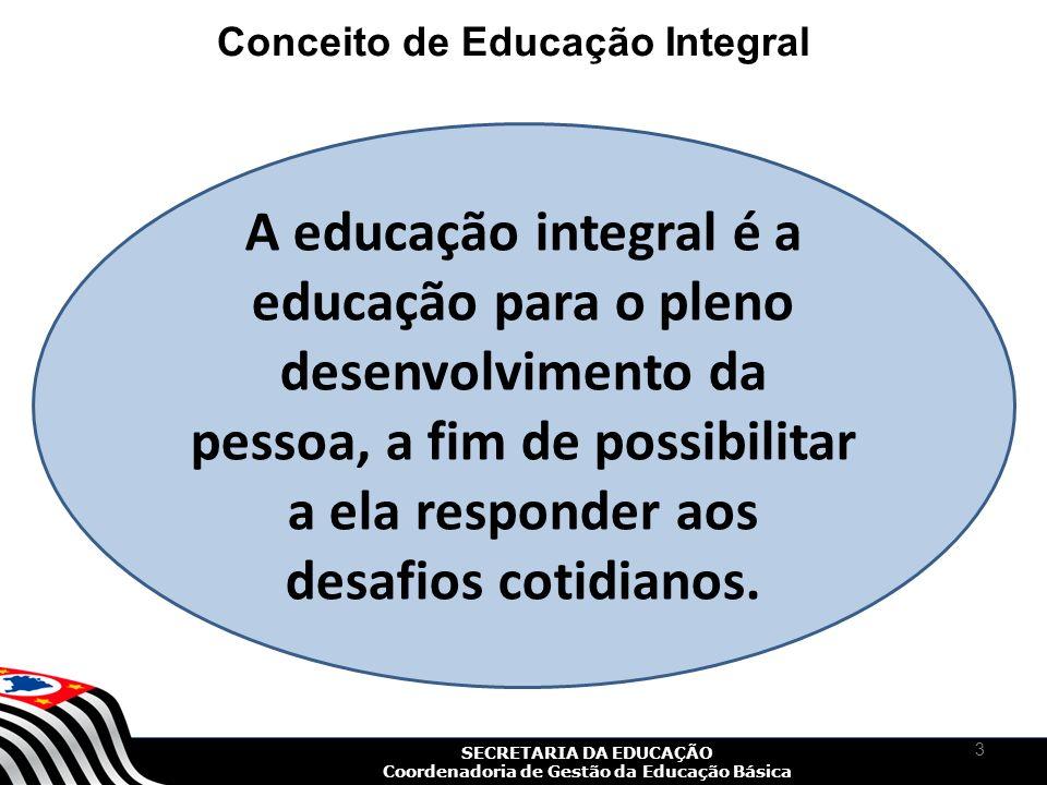 SECRETARIA DA EDUCAÇÃO Coordenadoria de Gestão da Educação Básica O conceito de educação integral não pode se restringir à jornada escolar ampliada.