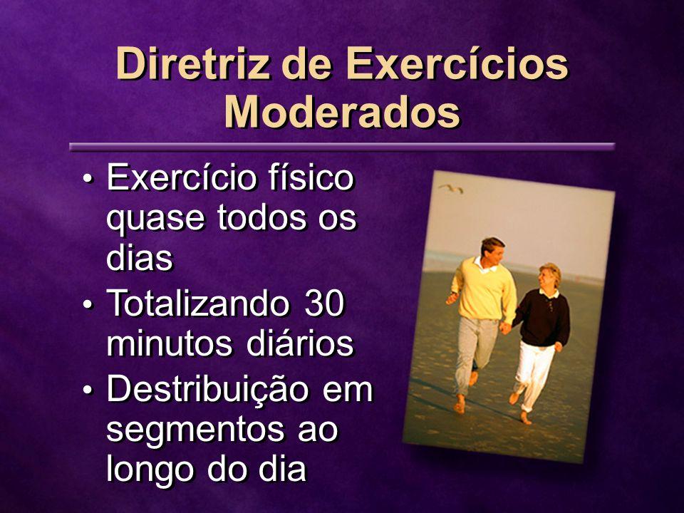 Exercício físico quase todos os dias Totalizando 30 minutos diários Destribuição em segmentos ao longo do dia Exercício físico quase todos os dias Totalizando 30 minutos diários Destribuição em segmentos ao longo do dia Diretriz de Exercícios Moderados