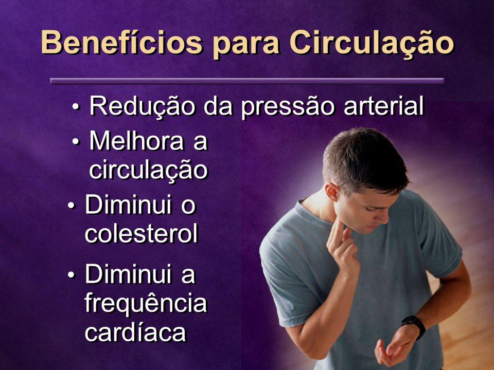 Benefícios para Circulação Redução da pressão arterial Melhora a circulação Diminui o colesterol Diminui a frequência cardíaca