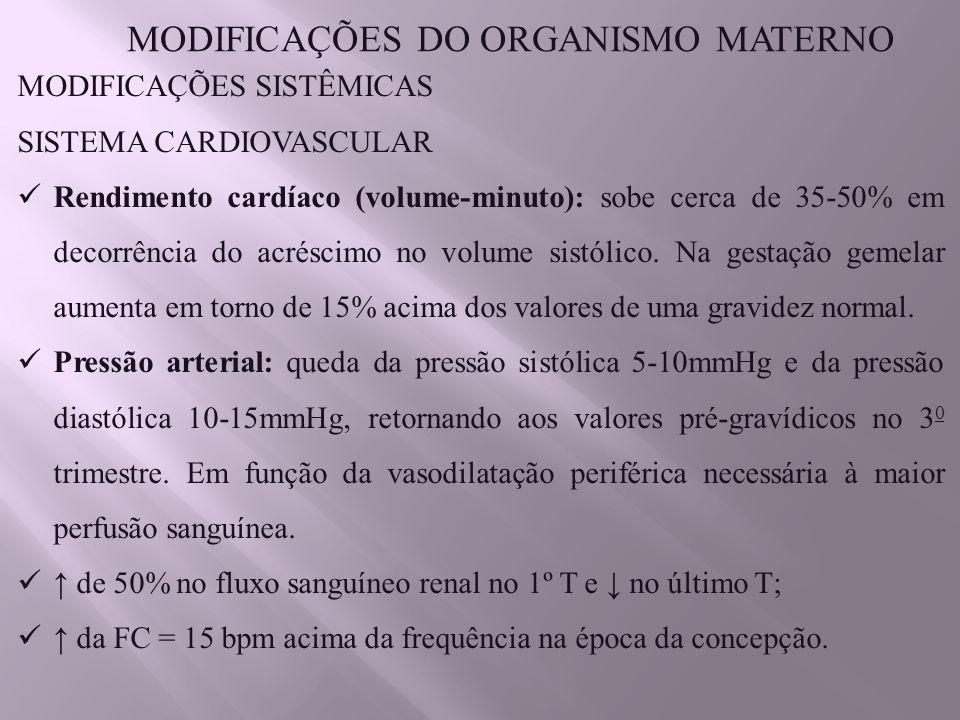 MODIFICAÇÕES DO ORGANISMO MATERNO MODIFICAÇÕES SISTÊMICAS SISTEMA CARDIOVASCULAR Rendimento cardíaco (volume-minuto): sobe cerca de 35-50% em decorrência do acréscimo no volume sistólico.