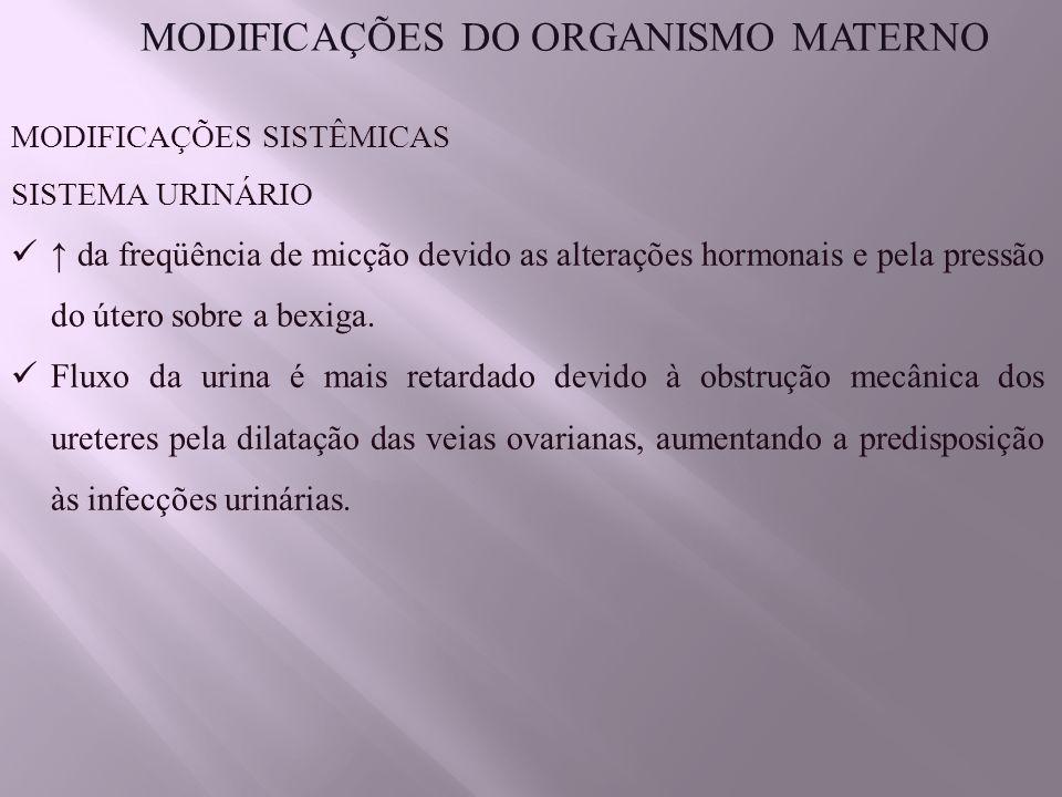 MODIFICAÇÕES DO ORGANISMO MATERNO MODIFICAÇÕES SISTÊMICAS SISTEMA URINÁRIO ↑ da freqüência de micção devido as alterações hormonais e pela pressão do útero sobre a bexiga.