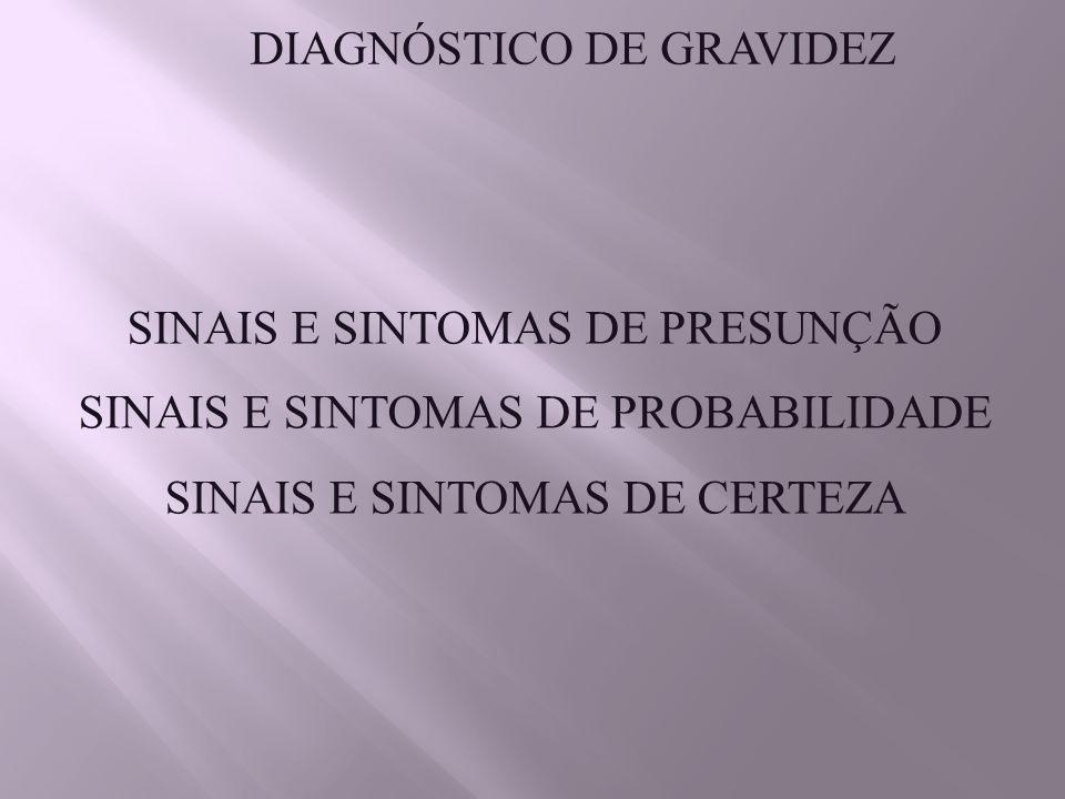 DIAGNÓSTICO DE GRAVIDEZ SINAIS E SINTOMAS DE PRESUNÇÃO SINAIS E SINTOMAS DE PROBABILIDADE SINAIS E SINTOMAS DE CERTEZA