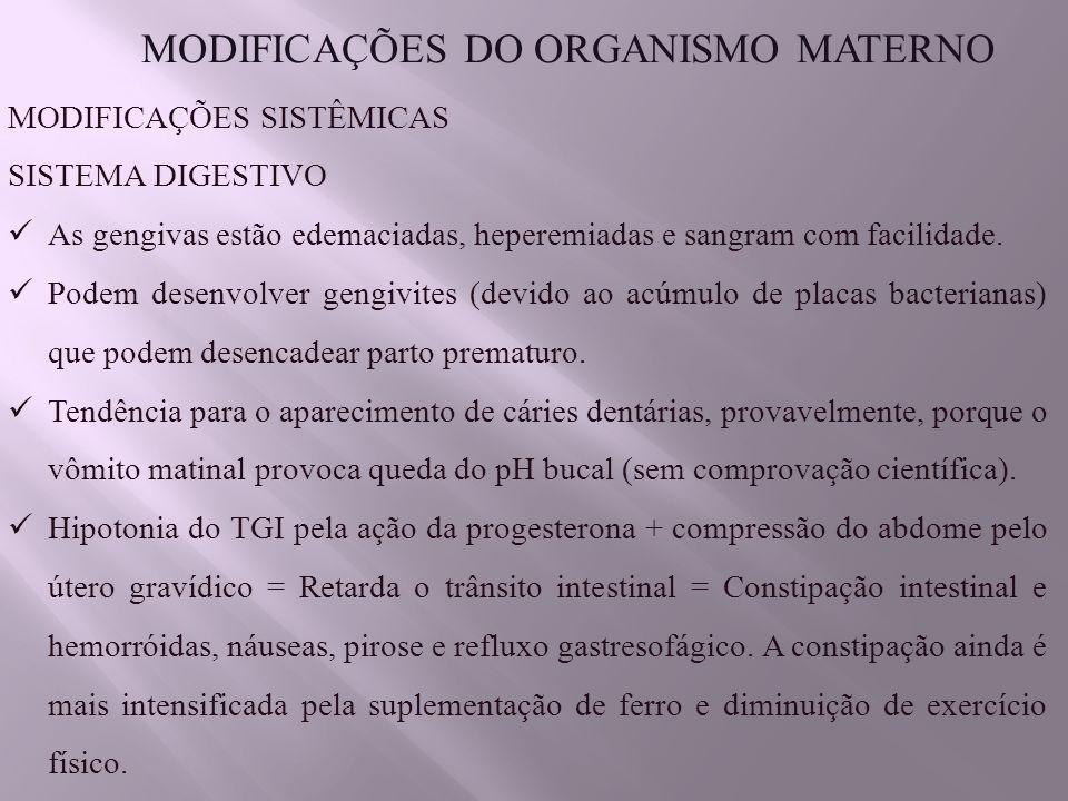 MODIFICAÇÕES DO ORGANISMO MATERNO MODIFICAÇÕES SISTÊMICAS SISTEMA DIGESTIVO As gengivas estão edemaciadas, heperemiadas e sangram com facilidade.