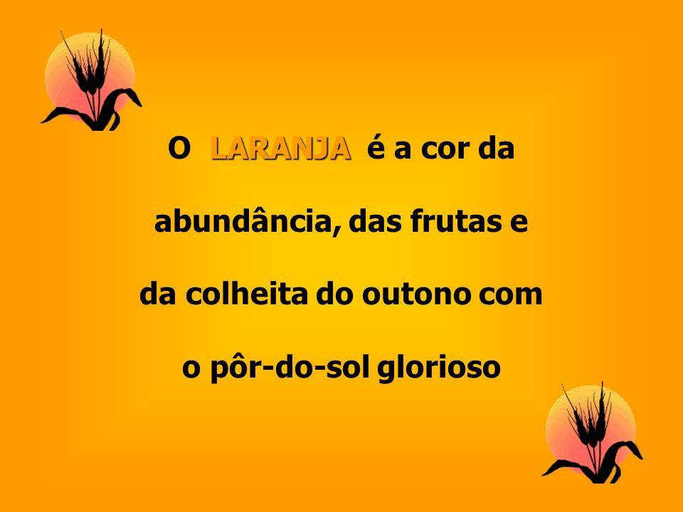 LARANJA O LARANJA é a cor da abundância, das frutas e da colheita do outono com o pôr-do-sol glorioso