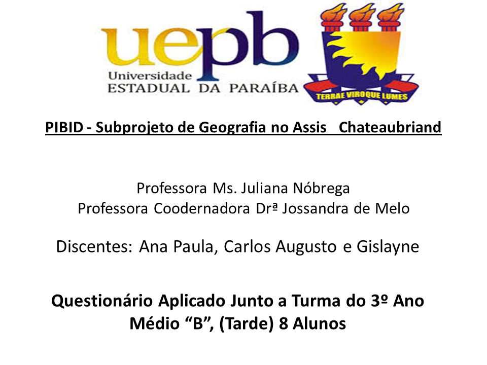 PIBID - Subprojeto de Geografia no Assis Chateaubriand Professora Ms.
