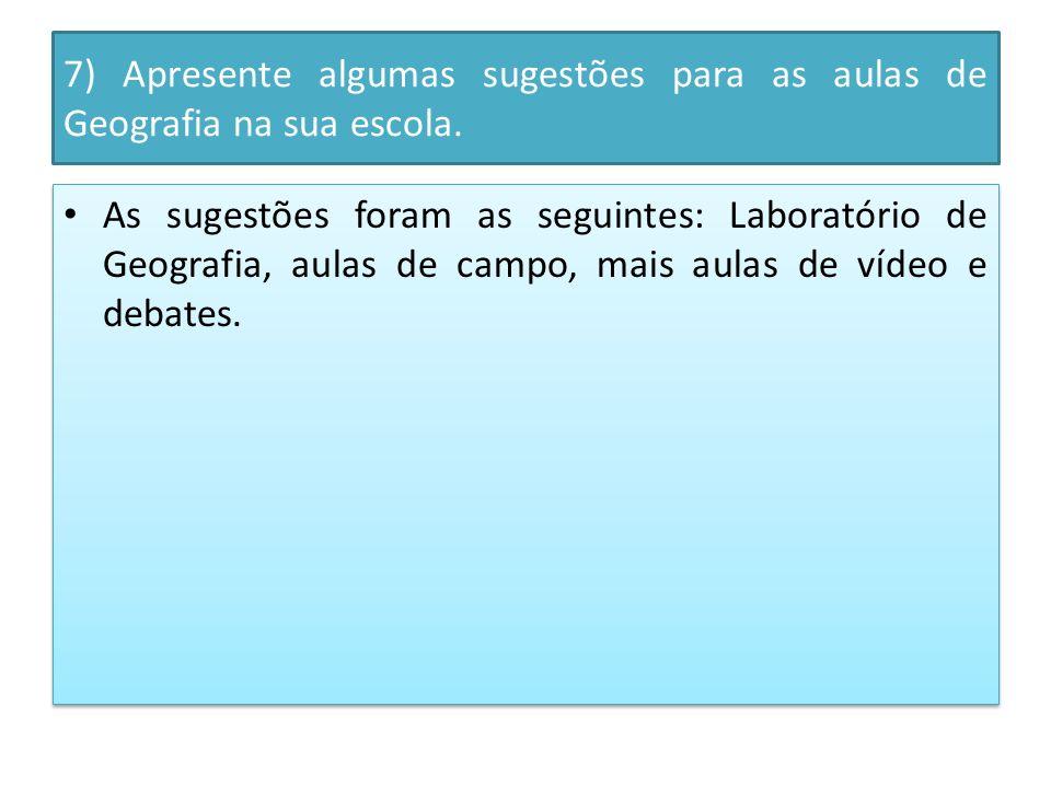 7) Apresente algumas sugestões para as aulas de Geografia na sua escola.