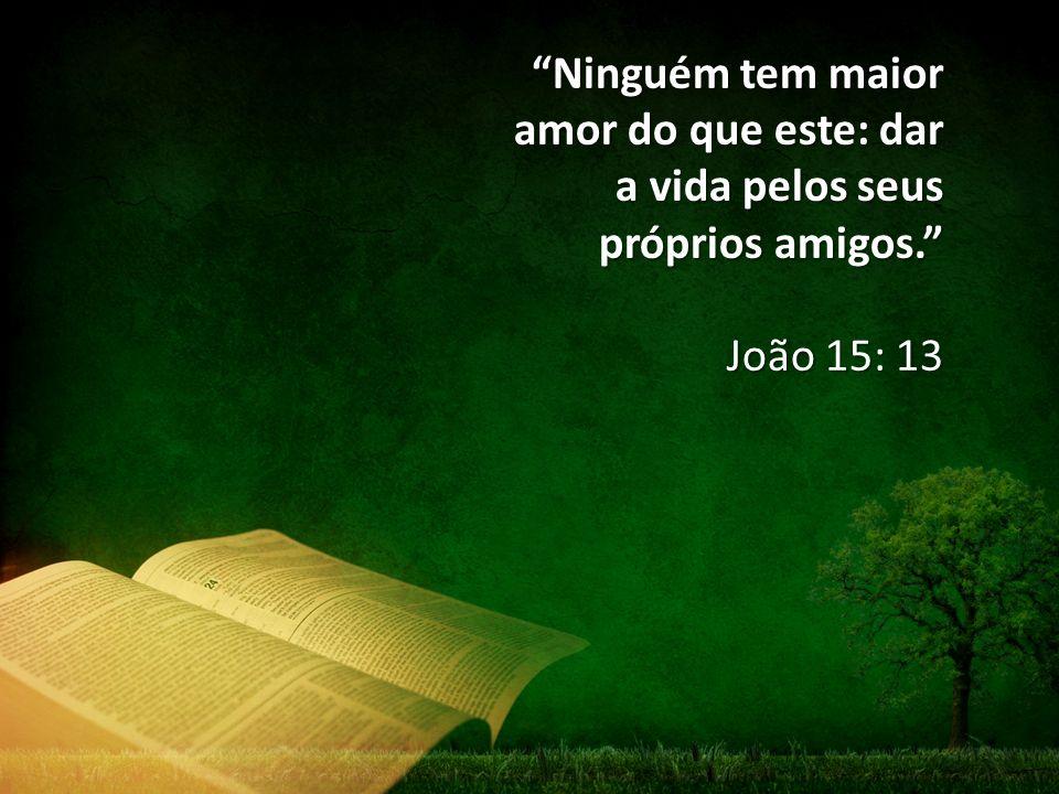 """""""Ninguém tem maior amor do que este: dar a vida pelos seus próprios amigos."""" João 15: 13"""