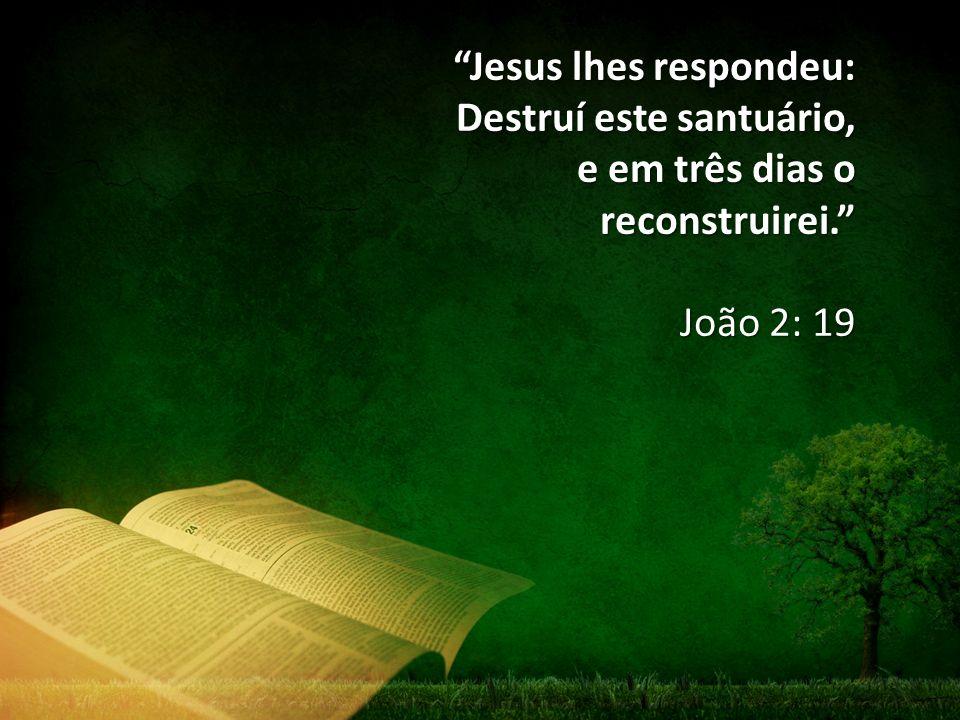 """""""Jesus lhes respondeu: Destruí este santuário, e em três dias o reconstruirei."""" João 2: 19"""