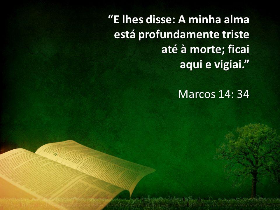 """""""E lhes disse: A minha alma está profundamente triste até à morte; ficai aqui e vigiai."""" Marcos 14: 34"""