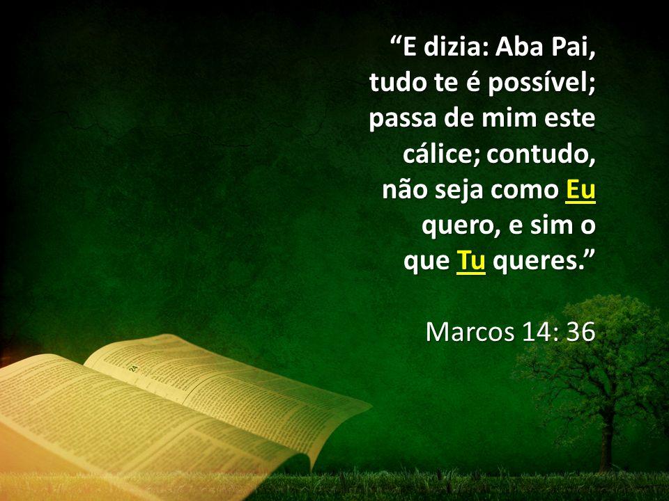 """""""E dizia: Aba Pai, tudo te é possível; passa de mim este cálice; contudo, não seja como Eu quero, e sim o que Tu queres."""" Marcos 14: 36"""