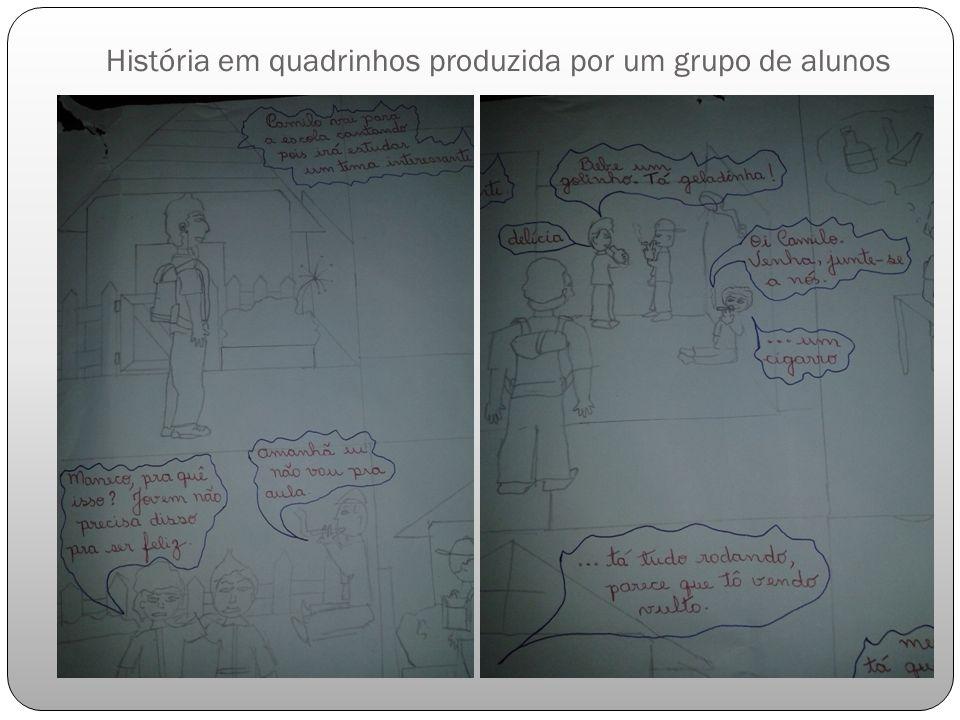História em quadrinhos produzida por um grupo de alunos