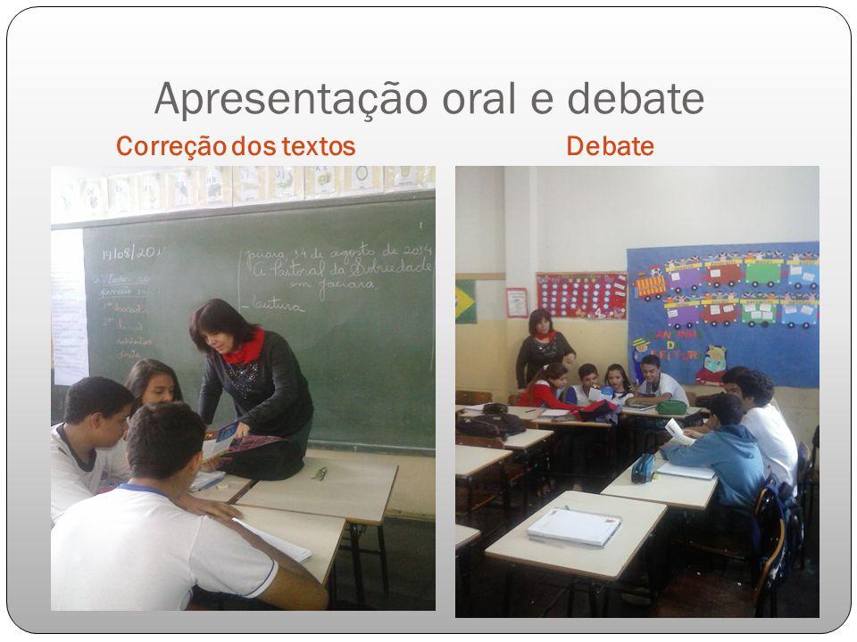 Apresentação oral e debate Correção dos textos Debate